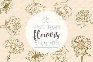 16 hand drawn flowers illustration