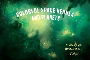 Colorful space nebula and planets