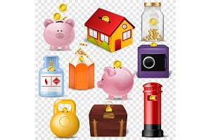 Money box vector financial bank or money-box with investment savings and coins illustration set of piggybank or moneybox with cash isolated on transparent background