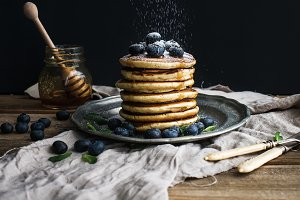 Pancake tower with fresh blueberry