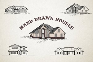 Hand drawn houses illustrations set