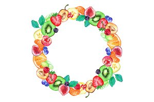 Watercolor fruit berry frame border