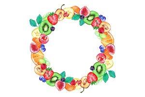 Watercolor fruit berry frame border