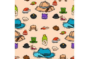 Different holiday carnaval hat fashion accessory party celebration for masquerad clothing seamless pattern background vector illustration