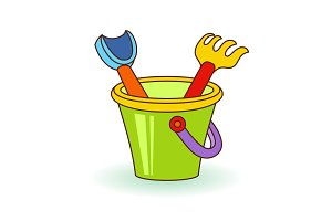Vector illustration children scoop, rakes and baby bucket with sand. Beach toys