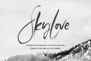SkyLove SVG Watercolor Font 50% OFF