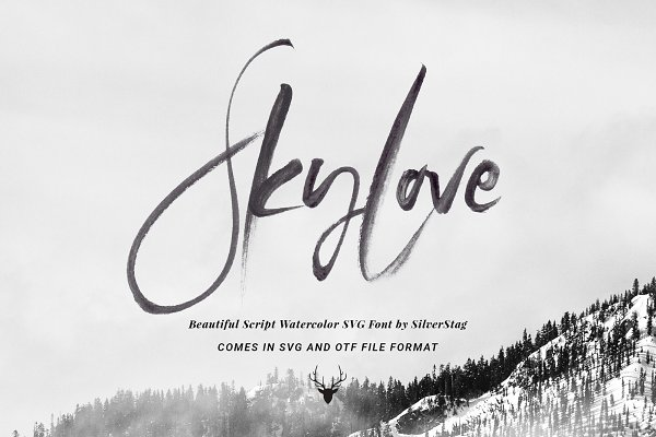 50% OFF SkyLove SVG Watercolor Font