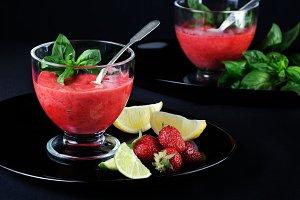strawberry slushie with basil
