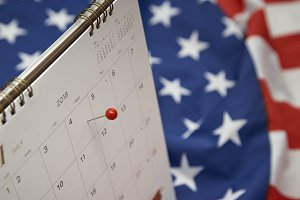 Calendar Red Pin 4th July Independence Day (United States)