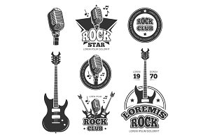 Vintage rock and roll music vector labels, emblems, badges, sticker with guitar and speaker silhouettes