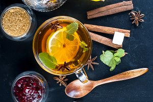 Hot tea with mint, lemon, mint