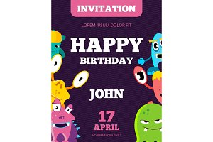 Children happy birthday invitation vector card with playful funny laughing monsters