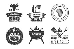 Barbecue, grill, bbq steak house restaurant vintage vector labels, badges, logos and emblems