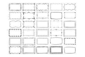 Hand drawn vector line photo frame borders set