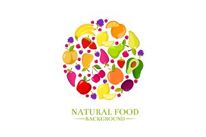 Fresh organic cartoon fruits vector icons, design for eco food menu
