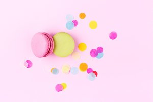 Twq colorful macarons with confetti.