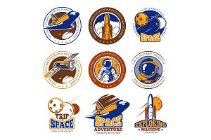 Astronaut flight, aviation, space shuttle and rockets vintage vector labels, logos, badges, emblems
