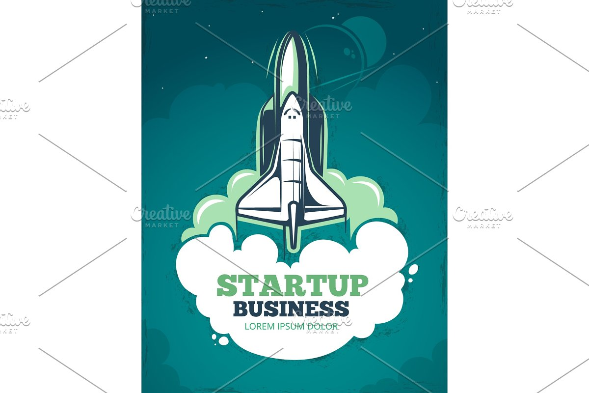 Startup vector grunge vintage 60s poster with rocket, spaceship launch