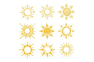 Funny doodle summer smile orange sun vector icons