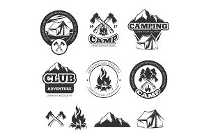 Nature vintage labels set for scout camp. Camping badges with tourist tent. Adventure vector illustrations
