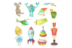Cartoon set of toys for kids boys and girls. Funny vector icons