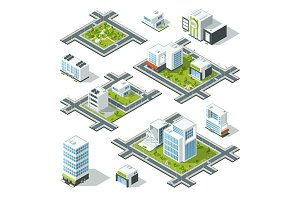 Isometric city 3d vector illustration with office buildings, skyscrapers. Trees and bushes on the street