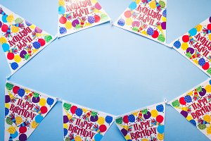 Birthday party banner blue background