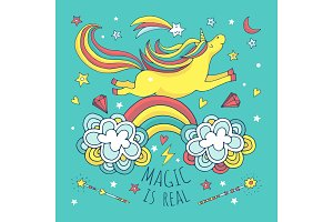 Magic vector background, poster with unicorn and rainbow
