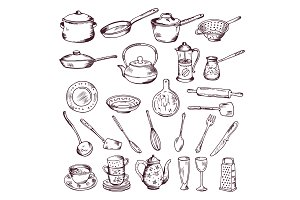 Hand drawn vector illustration of kitchen tools isolate on white background