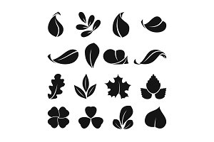 Black monochrome symbols of spring leaf. Vector shapes. Summer icon set isolate on white background