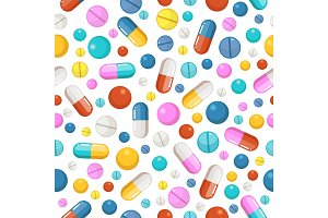 Vector seamless pattern of pills and other pharmaceutical ellements