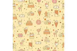 Sweet seamless pattern with cupcakes, candy, lollipop and other bakery foods. Vector illustration