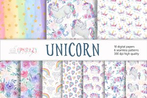 Unicorn digital paper. Watercolor