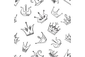 Sketch doodle crowns seamless pattern