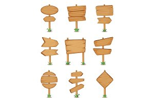 Empty wooden round and square signpost standing in grass. Vector illustration set
