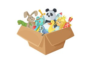 Children toys in cardboard box. Funny vector illustration isolate on white background