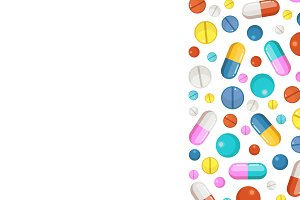 Vector background with pharmaceutical elements. Pills and drugs