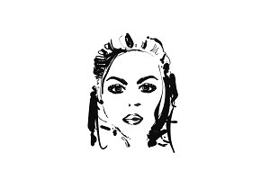 Female face, vector illustration. Fashion sketch