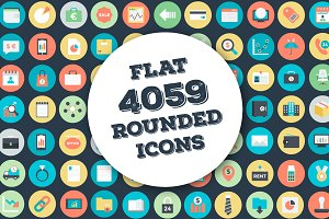 4059 Flat Rounded Vector Icons