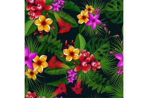 Exotic summer tropical flowers. Vector seamless pattern. Vintage illustration