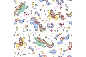 Vector seamless pattern of unicorn, clouds, rainbow and magic wand