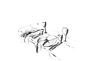 Hand Drawn wares. Romantic dinner for two. Serving.