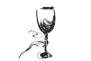 Wine glass in the hand. Hand drawn sketch. Cartoon