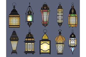 Ramadan old lanterns and lamps of arabic style. Vector illustration set