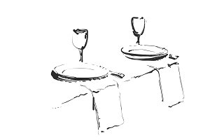 Hand Drawn wares. Romantic dinner for two. Serving. Wine glass