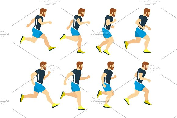 Running man young athlete in tracksuit. Animation frames. Vector ...