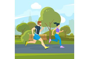 Runners in the city park. Urban lifestyle vector illustration
