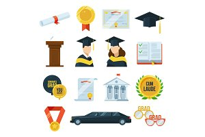 Vector icons set of graduation student party. Gown and cap, diplomas. Illustration in flat style