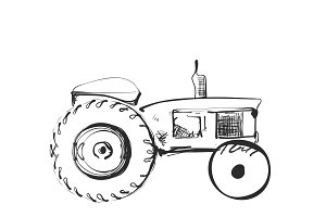 Tractor on white background. Free hand drawn sketch. Vector illustration.