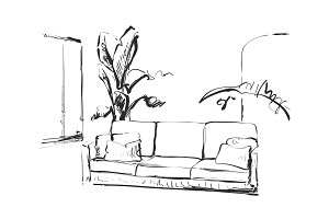 Modern interior room sketch. Hand drawn sofa, flowerpot and pictures